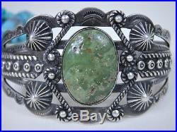 RARE Fred Harvey Era NAVAJO SilverArrow CERRILLOS TURQUOISE COIN Silver BRACELET