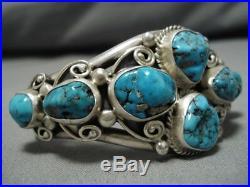 RARE GEM GRADE LONE MOUNTAIN Turquoise Bracelet Sterling Cuff Navajo Verdy Jake