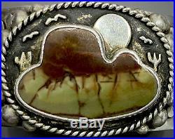 RARE HEAVY Vintage Navajo Sterling Silver Turquoise Desert Storm Cuff Bracelet
