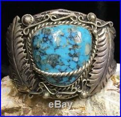 RARE! Hopi Ramon A. Dalangyawma Sterling Silver & Turquoise Cuff Bracelet