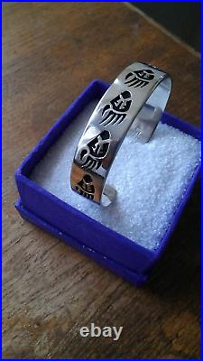 RARE Hopi Sterling Silver Cuff Bracelet Bear Paw by Cleve Honyaktewa 29 Grams