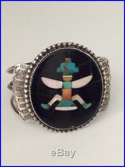 RARE JOHN GORDON LEAK ZUNI Knifewing Kachina Bracelet Pin Set Signed