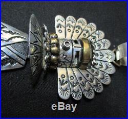 RARE. LARGE Tommy Singer Navajo Strlng Slvr -Gold Overlay Kachina Necklace