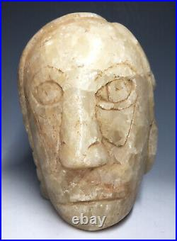 RARE MASSIVE Quartz Mississippian Human Effigy Altar Pipe Stone Native American