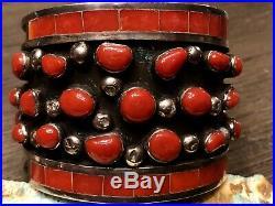 RARE MUSUEM Zuni Jobeth Mayes Maize Sterling & Gem Red Coral Bracelet + Ring Set