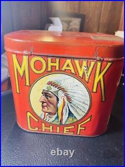 RARE Mohawk Chief Cigar Tobacco Tin Advertising Native American Indian Sign