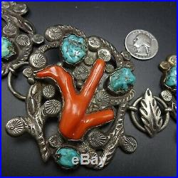 RARE Museum Quality DAN SIMPLICO BELT Sterling Silver TURQUOISE and BRANCH CORAL