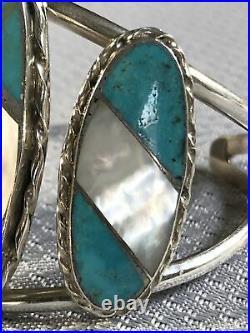 RARE N. LEE Vintage Navajo Turquoise & MOP Inlay Bracelet Cuff Signed & Stamp