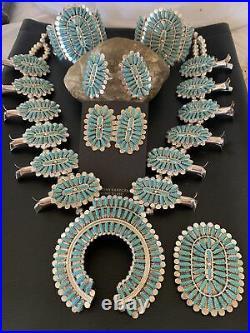 RARE NAVAJO 7pc Sterling Silver SQUASH BLOSSOM KINGMAN TURQUOISE Necklace SET