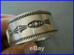 RARE Native American Carico Lake Turquoise Stamped Sterling Silver Cuff Bracelet