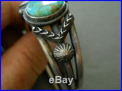 RARE Native American Green-Blue Turquoise Sterling Silver Bracelet H MORGAN