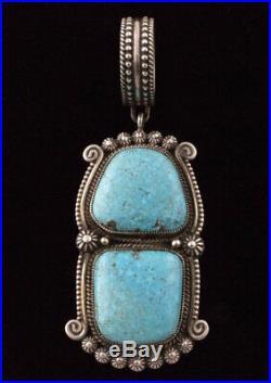 RARE Natural Morenci Web Turquoise Pendant By Navajo Artist Calvin Martinez