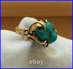 RARE Navajo 14k Solid Yellow Gold Ring Genuine Turquoise Museum Quality Size 6.5