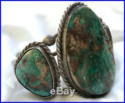 RARE Navajo Sterling 3 Pilot Mountain Turquoise 2.5 Wide Bracelet 6.25 102 Gms