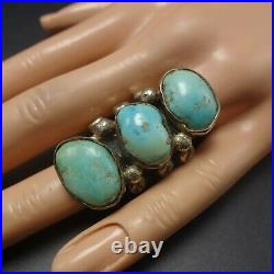 RARE OLD 1940s Vintage ZUNI Heavy Gauge Sterling Silver TURQUOISE RING size 7.5