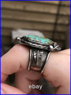 RARE OLD Pawn 30s 40s Vintage Heavy Gauge Sterling Silver TURQUOISE RING size 8