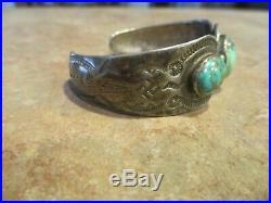 RARE Old Fred Harvey Era Navajo SPIDER WEB Turquoise WHIRLING LOG Bracelet