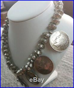 RARE! Old pawn vintage coin squash blossom Navajo made
