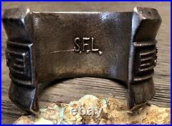 RARE Sedalio Fidel Lovato Sterling & Turquoise Tufa Cast Cuff Bracelet 131.4gr