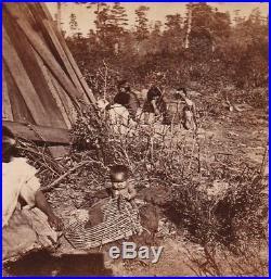 RARE Stereoview Photo Watkins Native American Rancherio Mendocino County CA 1865