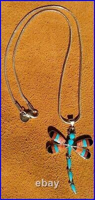 RARE Sterling Silver ZUNI Spiney Oyster Turquiose Dragonfly Necklace Sgn Ahiyite