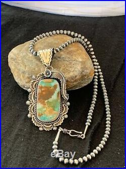 RARE Stunning Navajo Sterling Silver ROYSTON TURQUOISE Necklace PENDANT 4128
