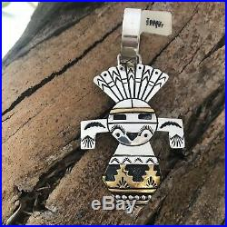 RARE T. SINGER Collector's Kachina Pendant Sterling Silver/Gold Overlay NWT