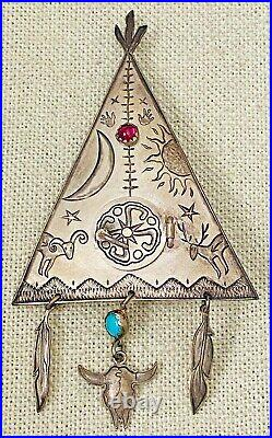 RARE Vintage 1992 Kit Carson Sterling TeePee Native American Peace Pipe Brooch