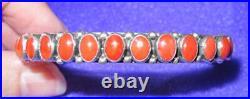 RARE Vintage Designer Signed Leo Feeney Sterling Silver Coral Cuff Bracelet