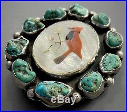 RARE Vintage Navajo KEWA Sterling Silver Kingman Turquoise Cluster Belt Buckle