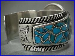 RARE Vintage Navajo Sterling Silver Turquoise Inlay Cuff Bracelet 95 Grams