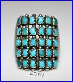 RARE Vintage Zuni Old Pawn Rectangular 5 Row Turquoise Ring, Size 7 FABULOUS