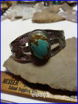 RARE WOW ANTIQUE NAVAJO STERLING FRED HARVEY SNAKE CUFF TURQUOISE old stone