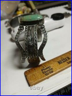 RARE WOW ANTIQUE NAVAJO STERLING FRED HARVEY SNAKE CUFF TURQUOISE pyrite