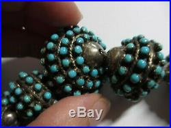 RARE XFINE OLD NAVAJO STERLING BENCH BEAD INLAID WithTURQUOISE NECKLACE 164 GRAMS