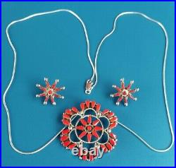 RARE ZUNI Sterling Silver Red Coral Needlepoint Necklace & Earrings V Halusewa