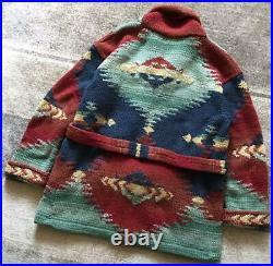 Ralph Lauren Native Line 100% Wool Cardigan S Size Hand Knit 90's Vintage Rare