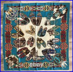 Ralph Lauren Southwest Navajo Moccasin Silk Scarf RARE 33X34