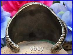Rare 159 Gram Native American Navajo Morenci Turquoise Sterling Cuff Bracelet