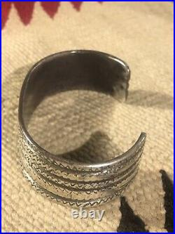 Rare 1920 Old Pawn Ingot Hammered Coin Silver Navajo Indian 5 Row Bracelet Cuff