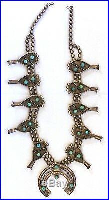 Rare 1950's Native American Navajo Sterling Silver Squash Blossom Necklace