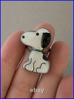 Rare 1970s ZUNI Toons Disney Inlay Snoopy Sterling Silver Native American Ring