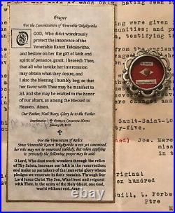 Rare 1st Class Relic Kateri Tekakwitha First Native American Saint withCOA