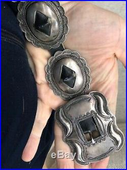 Rare 2nd Phase Style Navajo Southwest Coin Silver Concho Belt & Buckle