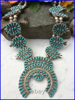 Rare 31 Huge Vintage Navajo Turquoise Cluster Sterling Squash Blossom Necklace