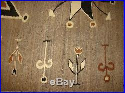 Rare Antique Pictorial Navajo Rug Natural Native American Blanket 75X47