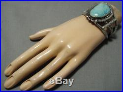 Rare Apache Turquoise! Vintage Navajo Sterling Silver Bracelet Cuff Old