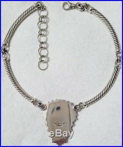 Rare Artie Yellowhorse Native American Navajo Natural Gaspeite Sterling Necklace