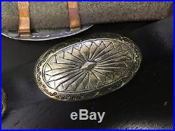 Rare Artist Wilbert Secatero Signed Navajo. 925 Silver 1970's Concho Belt
