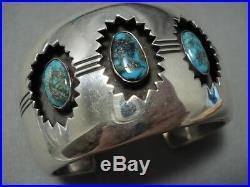 Rare! Bisbee Turquoise Vintage Navajo Sterling Silver Channel Bracelet Old